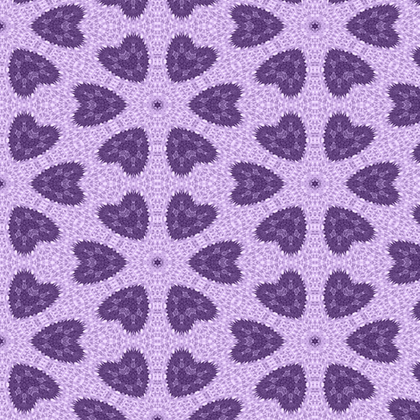 Patchwork in Purple: Hearts as Flowers fabric by tallulahdahling on Spoonflower - custom fabric