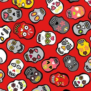 Mexican skulls red background