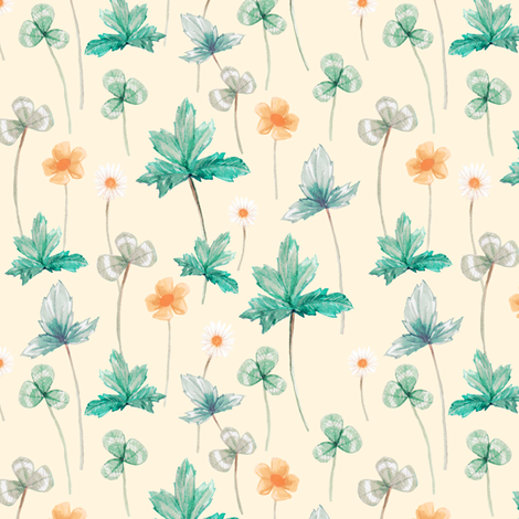 Meadow Pale on Cream fabric by thistleandfox on Spoonflower - custom fabric