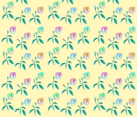 Rainbow Pansy Meadow on Pastel Yellow fabric by thistleandfox on Spoonflower - custom fabric