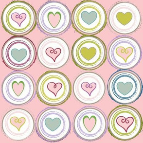 Badge of Hearts-LG pink