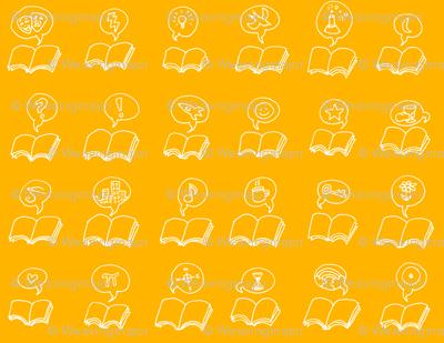 talking books - white on saffron
