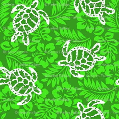 Sea Turtle Hibiscus Print