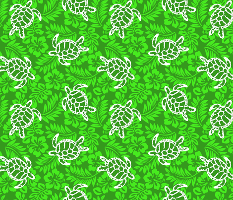 Sea Turtle Hibiscus Print fabric by rick_rack_scissors_studio on Spoonflower - custom fabric