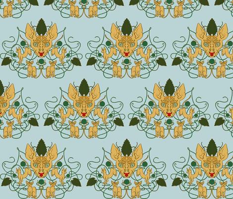 Cat Damask fabric by jadegordon on Spoonflower - custom fabric