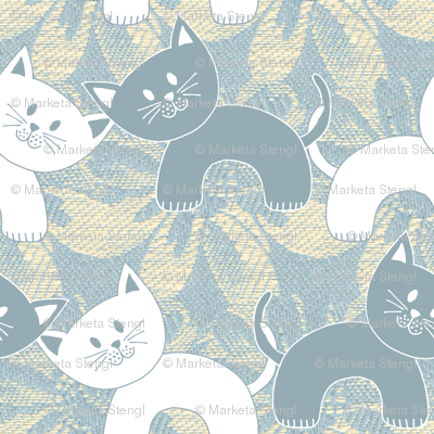 Cats on Damask