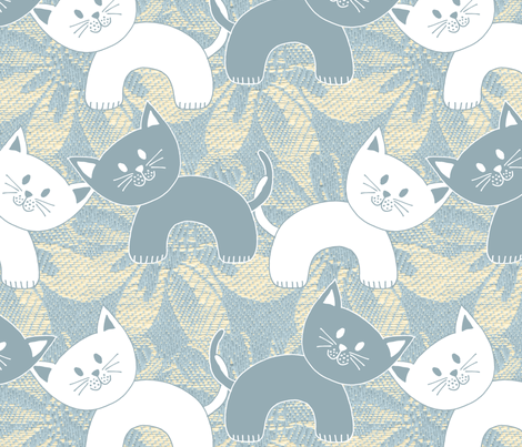 Cats on Damask fabric by marketa_stengl on Spoonflower - custom fabric