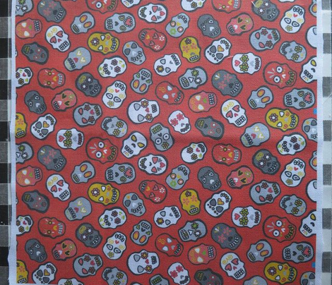 Mexican skulls red background - small scale