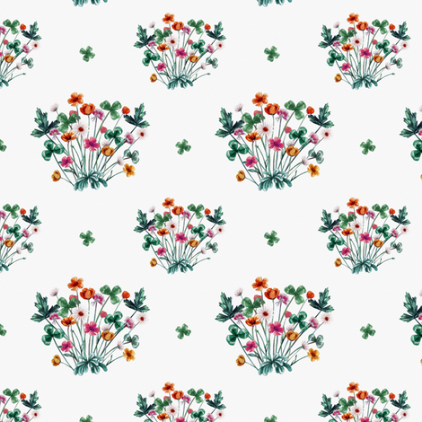 Meadow Floral on White fabric by thistleandfox on Spoonflower - custom fabric