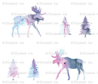 moose trot // blue lagoon watercolor