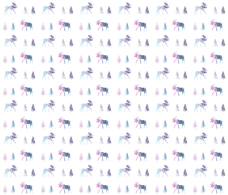 moose trot // blue lagoon watercolor fabric by ivieclothco on Spoonflower - custom fabric