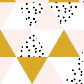 triangle wholecloth // pale pink + gold + b/w dots