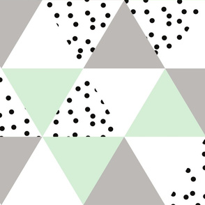 triangle wholecloth // mint + gray + b/w dots
