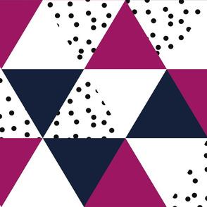 triangle wholecloth // navy + raspberry + b/w dots