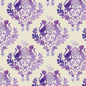 Purple Damask Cats