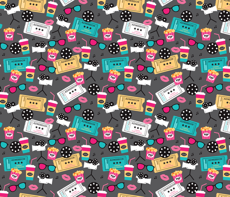 Let's go see a movie film theater illustration pattern fabric by littlesmilemakers on Spoonflower - custom fabric