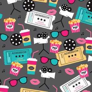 Let's go see a movie film theater illustration pattern