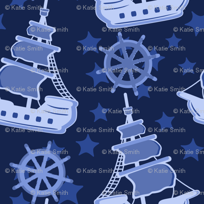 Pirate Ships Blue