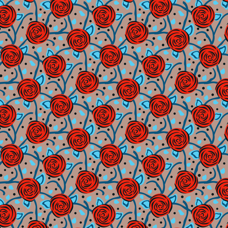 Rose Vining Red Blue & Grey fabric by eppiepeppercorn on Spoonflower - custom fabric