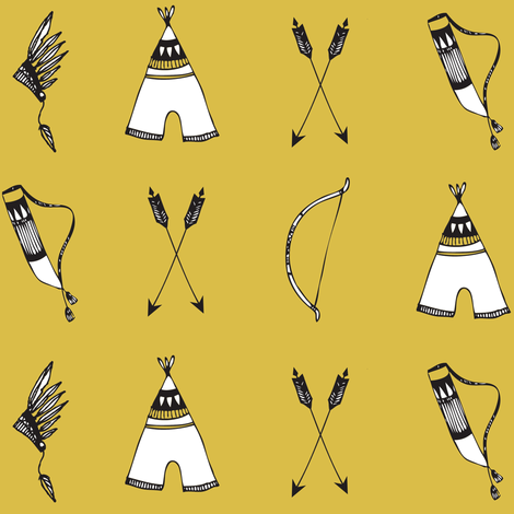 bow & arrow mustard - elvelyckan fabric by elvelyckan on Spoonflower - custom fabric