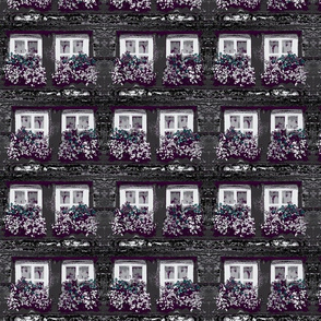 Merlot Nocturnal Shadows on Impressionist  Window Flower Boxes