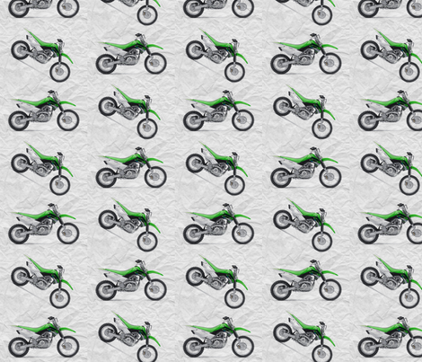 Green Dirt Bike with grey dirt background fabric by klinkermade on Spoonflower - custom fabric