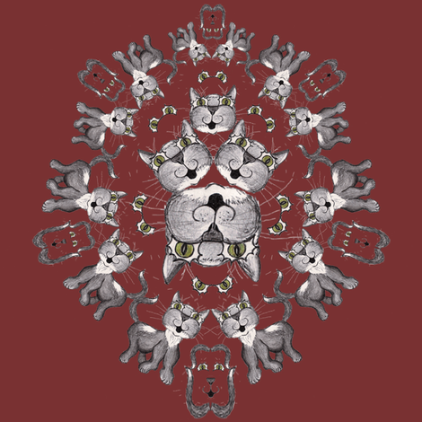 Cat Head Shield on Burgundy fabric by suzhar on Spoonflower - custom fabric