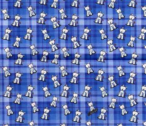 Tiny Westies on Blue Plaid