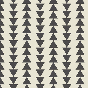 Tribal Triangles-Large-Dark Gray & Cream