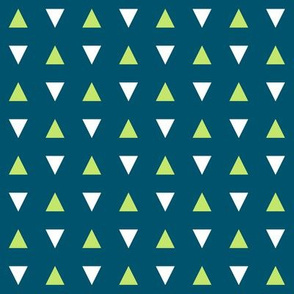 Green Triangles on Navy - Small