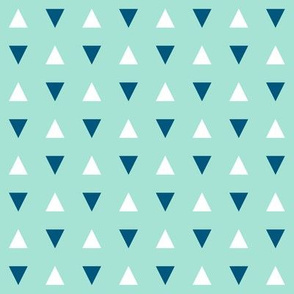 Navy Triangles on Blue - Small