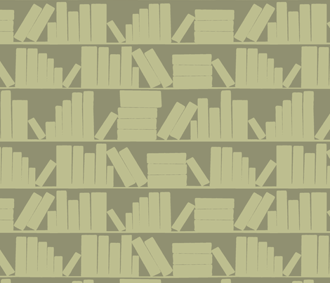 library book shelves khaki olive green  fabric by amy_g on Spoonflower - custom fabric