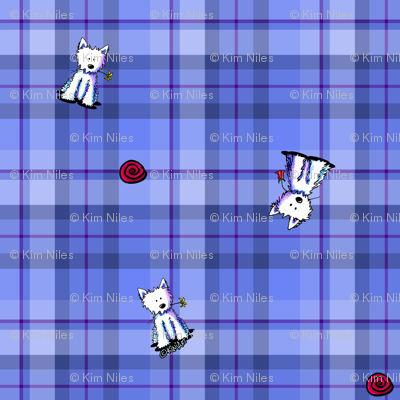 Westies on Blue Plaid