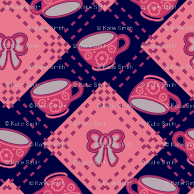 Tea Party Argyle Pink Purple