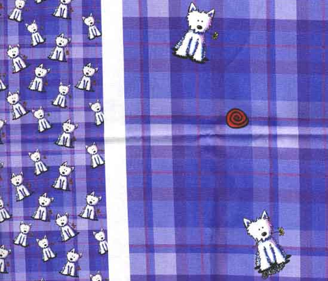 Tiny Westies on Purple Plaid