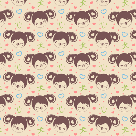 Kokeshi Puppy Girl fabric by eppiepeppercorn on Spoonflower - custom fabric