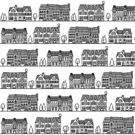 Townhouse neighborhood black&white fabric by alenkas on Spoonflower - custom fabric