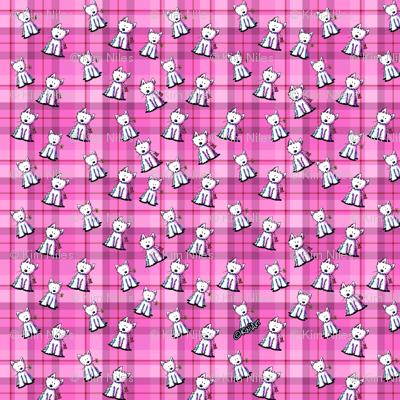 Tiny Westies on Pink Plaid