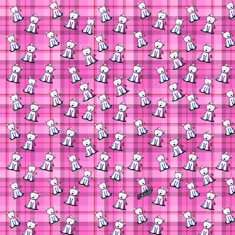 Tiny Westies on Pink Plaid fabric by kiniart on Spoonflower - custom fabric
