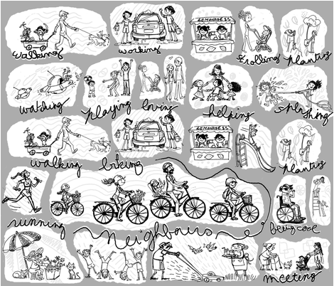 neighbours fabric by violette's_doodling_fun on Spoonflower - custom fabric