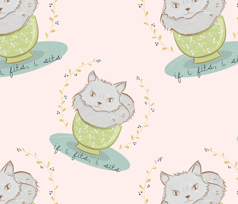 sitting kitty fabric by clair_bremner on Spoonflower - custom fabric