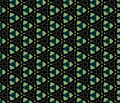 Varied Triangles Geometric in Green and Black fabric by jabiroo on Spoonflower - custom fabric