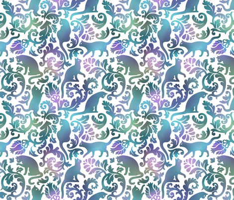cats in the garden - gradient, large fabric by mirabelleprint on Spoonflower - custom fabric