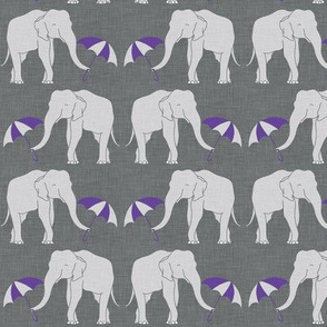 elephant and umbrella purple small