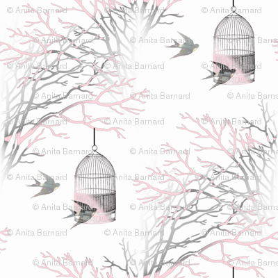 Vintage Birdcage Pink and Gray Branches