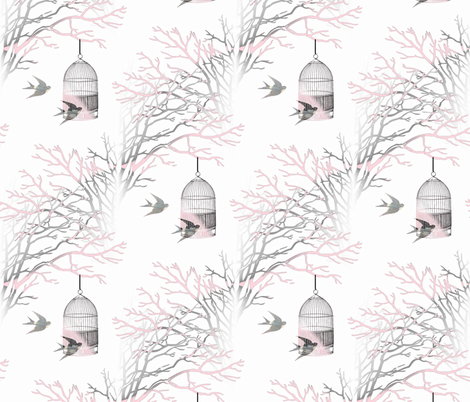 Vintage Birdcage Pink and Gray Branches fabric by 13moons_design on Spoonflower - custom fabric