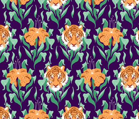 Tiger Lily Damask fabric by logan_spector on Spoonflower - custom fabric