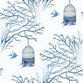 Blue Birdcage Bare Branches