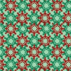 Red and Green Snowflakes on Mint