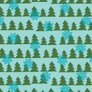 Christmas Trees on Aqua